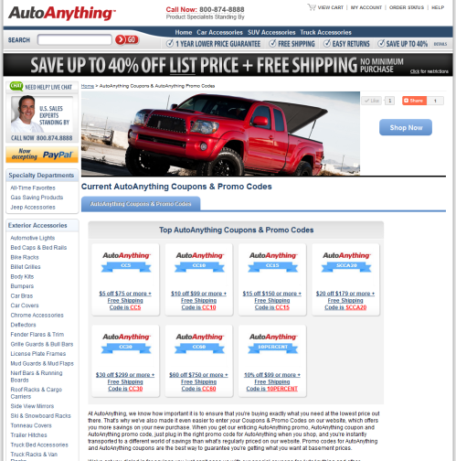 Click to see the Latest AutoAnything Coupons and Promo Codes